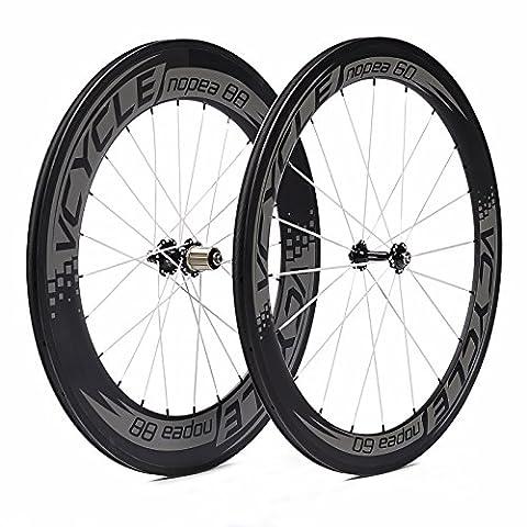 VCYCLE Nopea 700C Vélo de Route Carbone Roues en Roue de Vélo Pneu Avant Arrière de 60mm 88mm Shimano ou Sram 8/9/10/11 Vitesses. Taxes Gratuit