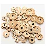 MAXGOODS 100 Stk gemischte Größe Runde Form 4 Löcher Holzknöpfe natürliche Farbe zum Nähen Scrapbook handgemachte Handwerk