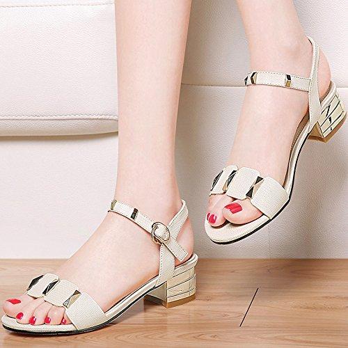 XY&GKFrau Sommer High-Heeled Sandalen Sandalen mit dicken Sommer Sommer mit einem All-Match Sandalen, komfortabel und schön 35 Beige