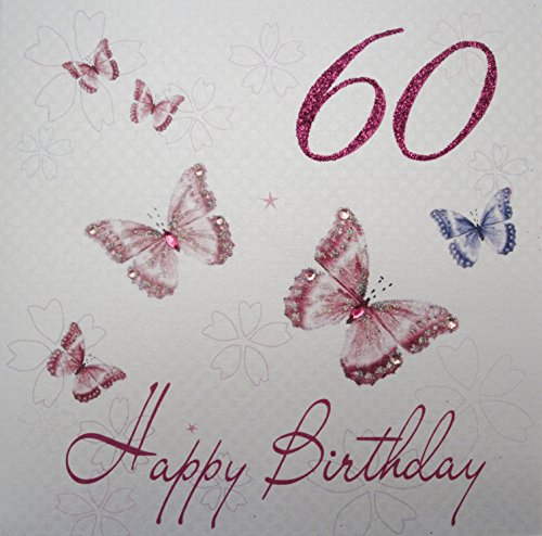 WHITE COTTON CARDS wbb 152.40 cm Pink Butterflies 152.40 cm, Happy Birthday Geburtstagskarte zum 60. Geburtstag, handgefertigt (Happy Birthday Butterfly)