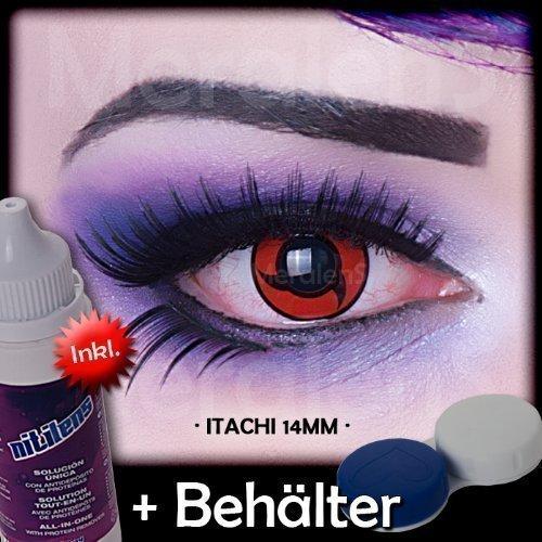 Meralens A0469 Itachi Kontaktlinsen mit Pflegemittel mit Behälter ohne Stärke, 1er Pack (1 x 2 Stück) (Freddie Krüger Kostüme)