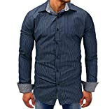 Luckycat Männer Gestreifte Denim Long Sleeve Beefy Button Grundlegende Feste Bluse T Shirt Top Mode 2018