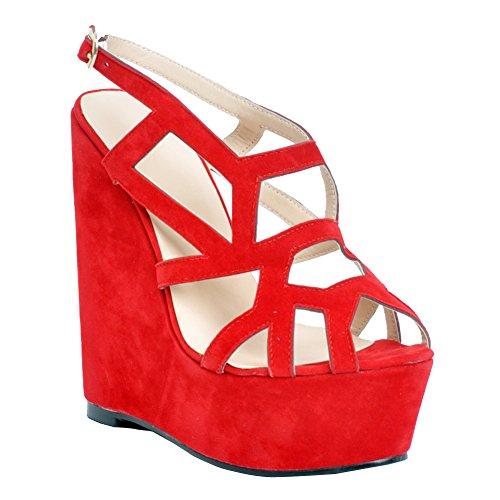 E Alta Vermelhos Casamento Arte Kolnoo Mulheres Sapatos 15 Bombas Faschion Extrema Buckle Para Artesanal De Centímetros Festa Toe Weisepeep yw110AHFq