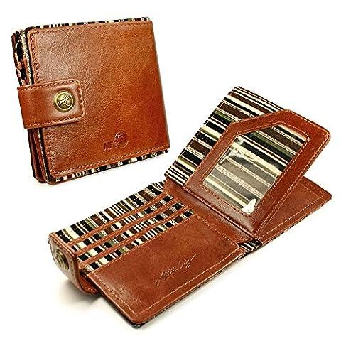 Alston Craig Personalised Genuine Vintage Leather RFID Blocking / NFC ID Mens Tec wallet - (Olive Stripe) -