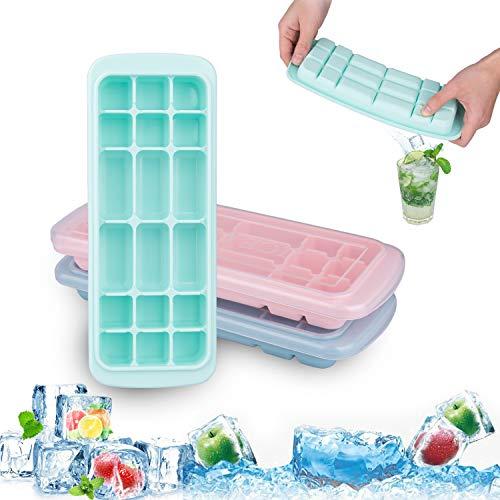 Acmetop Eiswürfelform, Eiswürfelformen,Silikon Eiswuerfel Form Eiswuerfelbehaelter mit Deckel Ice Cube Tray,LFGB Zertifiziert,18-Fach,【3 Stück】【2019 Upgrade Version】 -