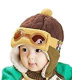 Vimeet Baby Kinder Winter Warm Plüsch Mütze Beanie Strickmütze Wintermützen Earflap Hut Kappe Schnee Hüte Pilot Braun