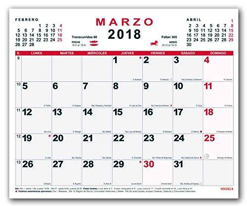 Calendario In Spagnolo.Myrga Calendario Da Parete Del 2018 In Spagnolo 30x24 7 Cm
