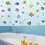 ROKOO Poissons Cartoon Underwater World Stickers Muraux PVC Décoration Maison pour Salle de Bain Chambre d'Enfants Salon Canapé Fond Amovible Autocollant Mural 80 * 160cm...