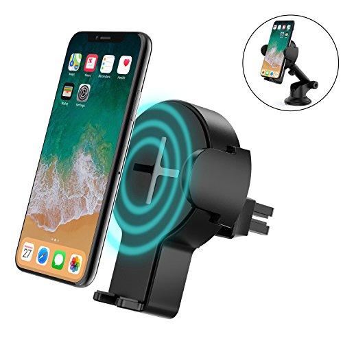 Schnelles wireless auto charger, Steanum 2 in 1 Qi kabelloses Ladegerät Air Vent Auto Halterung Halter Cradle für iPhone X/8/ 8 Plus, Samsung Galaxy S8/S8+/S7/S6 Edge+ und Qi-fähigen Geräte (Auto-telefon-vent Halter Lg G3)