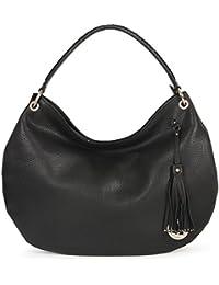 Da Milano LB-4270 Black Leather Hobo Bag