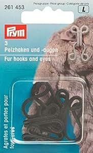Prym crochets en fausse fourrure et recouvert Eyes, Lot de 3, noir