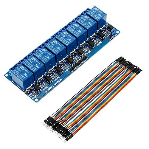 Anpro Relay Module 8-Kanäle RelaisModul Brett 5V + Male Female Jumper Wire Kabel Steckbrücken Drahtbrücken für Arduino Raspberry Pi 3 B+, Blau, EINWEG