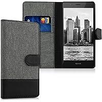 kwmobile Hülle für Huawei P9 Lite - Wallet Case Handy Schutzhülle Kunstleder - Handycover Klapphülle mit Kartenfach und Ständer Grau Schwarz