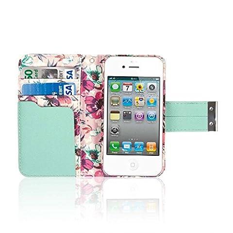 EMPIRE KLIX Klutch Designer Wallet Case Étui Coque for Apple iPhone 4 / 4S - Vintage Pink Rosa Fleur
