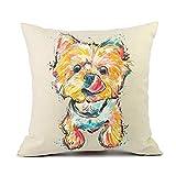 Vioaplem Schön Yorkshire Haustier Hund Kissenhüllen Baumwolle Leinen Wurf Kissenbezug zum Couch Sofa Schlafzimmer Zuhause 45 x 45cm