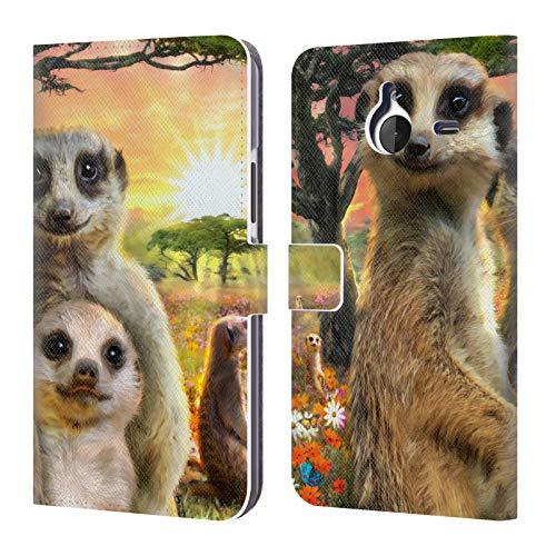 Head Case Designs Offizielle Aimee Stewart Surikate Tiere Leder Brieftaschen Huelle kompatibel mit Microsoft Lumia 640 XL/Dual SIM