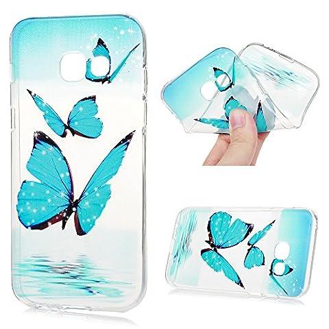 MAXFE.CO TPU Silikon Hülle für Samsung Galaxy A5 (2017) Handyhülle Schale Etui Protective Case Cover Rück mit Blauer Schmetterling Skin Silikon Junge Paare Design