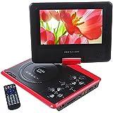 """DBPOWER Reproductor de DVD Portátil de 7.5"""" con Pantalla Giratoria, 5 Horas recargable incorporada de la batería, Compatible con Tarjetas SD y USB, con el cargador del coche y dispositivo de juego - Rojo"""