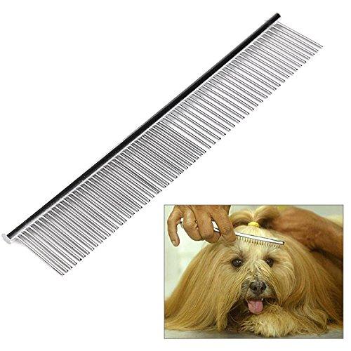 Bestwe Hund Kamm, Metall Haustier Pflege Kamm Feine und Grobe Zinken Rostfreier Stahl Kamm