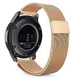 MoKo Armband für Samsung Gear S3 Frontier/Galaxy Watch 46mm / Classic - Edelstahl Milanese Magnet Uhr Band Strap Uhrenarmband Replacement, Rose Gold (Nicht für Gear S2 Classic)