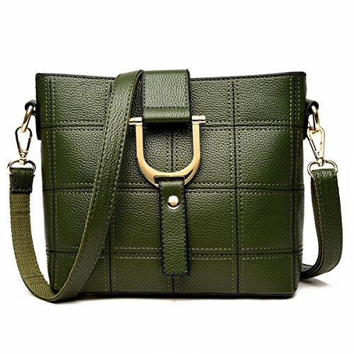 Damen-Mode-Eimer Tasche Beliebte Stickerei Linie Box Portable Schulter Messenger Bag Grün