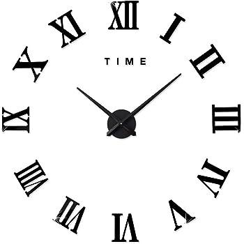 62d9fb81bab941 FAS1 Moderne DIY Grand Pendule Murale Chiffres Romains Big Montre Stickers 3D  Horloge Montre Murale Home Office Décoration Amovible (Batterie Non Inclus)  ...