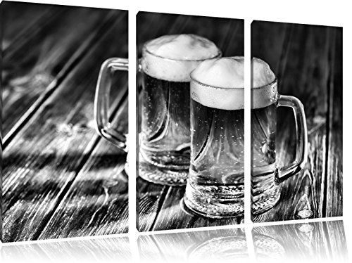 monocrome-two-steins-of-beer-3-pc-canvas-picture-120x80-image-on-canvas-xxl-huge-pictures-completely