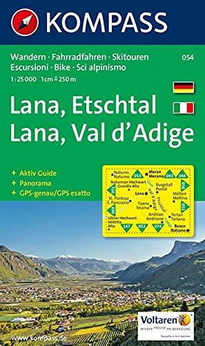 Preisvergleich Produktbild Lana-Etschtal/Lana-Val d'Adige: Wander-, Bike- und Skitourenkarte mit Panorama. GPS-genau. 1:25.000