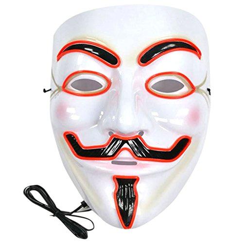 Exing v Wort glühen Maske DIY Halloween Karneval Nacht Geister Tanz Erwachsenen männer und Frauen EL Valentinstag Glow Maske (Rot)