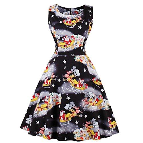 Weihnachten Kleid für Damen, Sansee Plus Size Damen Santa Christmas Party Kleid Vintage Xmas Swing Skater Kleid (Schwarz, XXL)