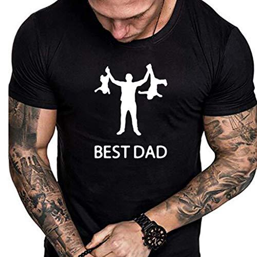 TOPKEAL Herren Sommer Bluse Tops Shirts T-Shirt Blusen Casual Herren Sommer Casual Print Kurzarm T-Shirt Geschenk FüR Die Weltbesten Dad Tops (Schwarz 5, L) Tweety Fleece
