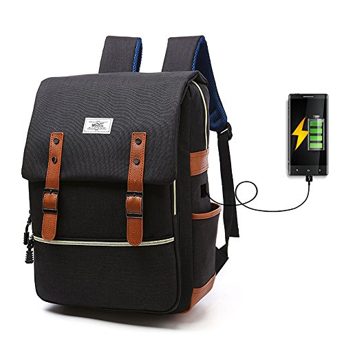 """iCasso Zaino per PC portatile 15,6"""" , Laptop Borsa Backpack leggero Viaggio Scuola anti-furto belt Business Borse multi-funzionale con USB Port , Nero"""