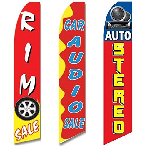 3 Swooper Flags Auto Stereo Rim Car Audio SALE Welcome Open Red & Yellow by EHT Flags Eht Audio