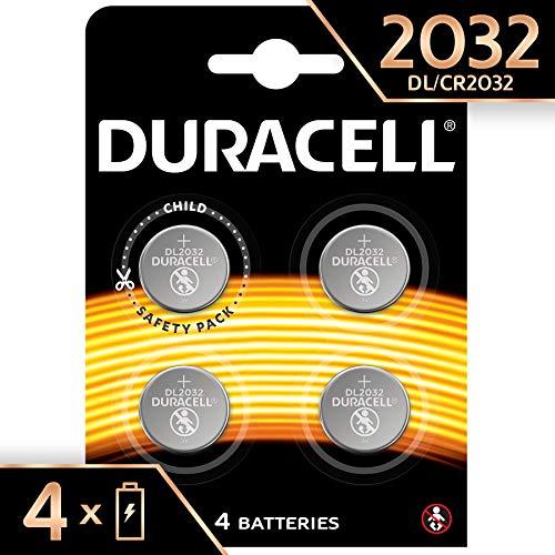 Duracell 2032 CR 2032 - Pila de Botón de Litio 3 V, Diseñada para Dispositivos Electrónicos, 4 Unidades
