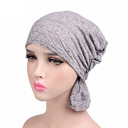 CHIRORO Damen Kopftuch Baumwolle Turban Hut Muslimischer Bandana Chemo Cap Stirnband Schal Headwrap Kopfbedeckung Für Krebs, Haarausfall, Schlaf,hellgrau Hüte, Caps, Kopfbedeckungen