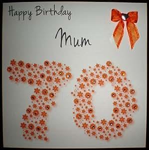 Happy Birthday Card - Mum 70th Orange Flowerbed - Handmade Card