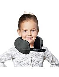 SANDINI TravelFix Kids Size – Premium Reisekissen mit Verschluss/Nackenkissen mit ergonomischer Stützfunktion für Kinder – Gratis Transporttasche mit Befestigungs-Clip