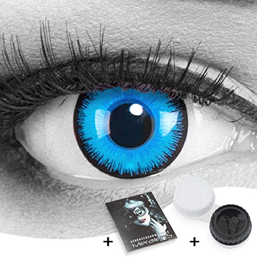 Farbige Kontaktlinsen Meralens 1 Paar Cosplay Manga Crazy Fun blaue Jahres Linsen Alper mit gratis Linsenbehälter. Perfekt zu Halloween, Karneval und Fasching für Kostüme.