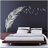 RETUROM Nueva etiqueta de la pared aves de plumas dormitorio dirigen la etiqueta mural de la decoración del arte Blanca
