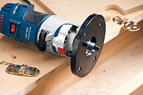 Bosch Professional GKF 600, 600 W Nennaufnahmeleistung, 33.000 min-1 Leerlaufdrehzahl, 6mm/8mm Werkzeugaufnahme, Führungshilfe, L-BOXX