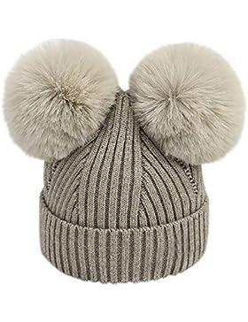 URSING Wintermütze Säugling Baby Mädchen Jungen Häkelstrick Winter Warm Faux Pelz Ball Hut Mütze Kappe Super Gemütlich...