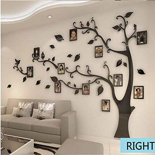 shshuiyue 11PCS 3D Tree Frame Wall Sticker Crystal Mirror Sticker 3D Photo Frame Wall Sticker Art Decals Wall Decal Mural On Furniture Bedroom TV Background Hallway Wallpaper