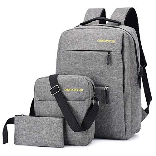 Neverending 3-teiliges Set Rucksack Männer für Schule Uni Reisen Freizeit Job mit Laptopfach & Anti Diebstahl Tasche, Grau