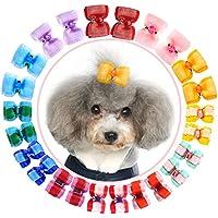 HOLLIHI - Lazos de grogrén para mascotas, 24 unidades, 12 pares, con bandas elásticas de goma, accesorios para el cuidado de perros y gatos