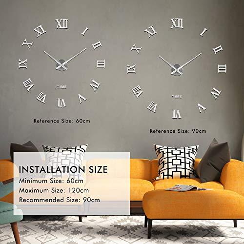 51p0JODnQqL - SOLEDI Reloj de Pared 3D, DIY Reloj de Etiqueta de Pared Decoraciš®n Ideal para la Casa Oficina Hotel Restaurante, llenado Pared Vacšªa 3D Reloj (Plata)