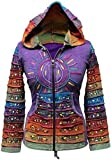 Säure Wäsche mehrfarbig Patchwork Kapuzenpulli, Rainbow Gestreift Hippie Jacke, Boho - Lila, XX-Large