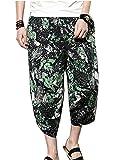 LaoZanA Herren Pumphose Strandhose Blumen Freizeithose Haremshose Leinenhose Große Größen Grün3 4XL