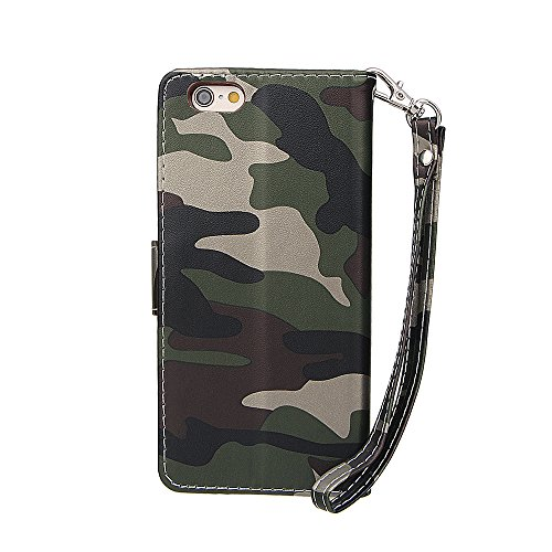 """Hülle für iPhone 7, xhorizon MW8 Armee Camouflage PU Leder Case Voll Körper Schützender Stand Case mit Kartensteckplätzefür iPhone 7 [4.7""""] Camouflage Grün"""