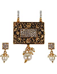 Pink Rose - Devine Collection Gold Black Matt Finish Stone Pearl Copper Double Chain MangalSutra Set For Women