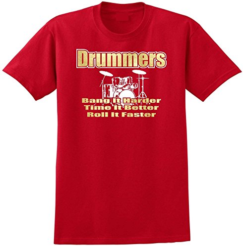 Drum Kit Drummers Bang Harder - Red Rot T Shirt Größe 87cm 36in Small MusicaliTee